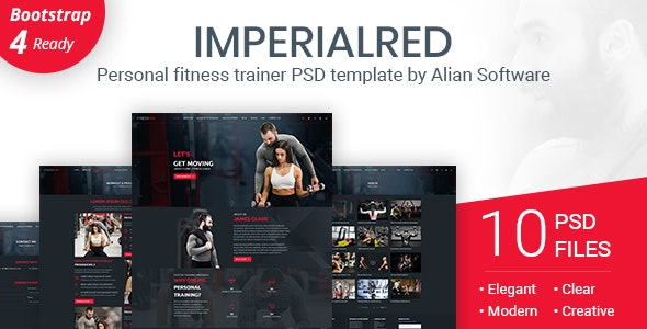 Imperialred - Personal Trainer Website PSD Template - Personal Photoshop