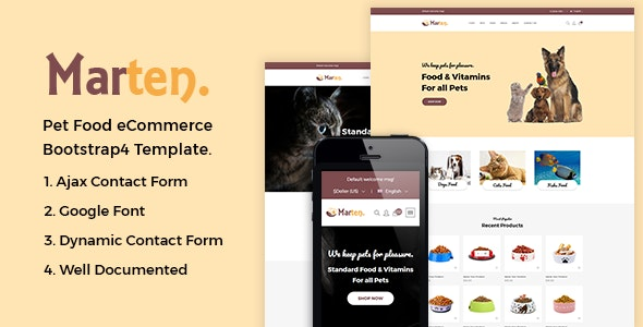 Marten - Pet Food eCommerce Bootstrap4 Template - Food Retail
