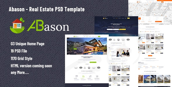 Abason - Real Estate PSD Template - Business Corporate