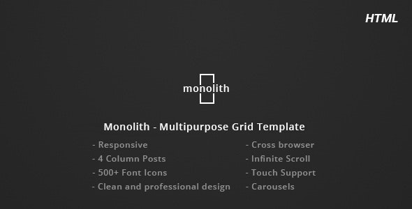 Monolith - Responsive Multipurpose Grid Template - Personal Site Templates