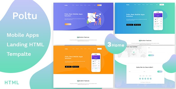 Poltu - Mobile App Landing HTML Template - Creative Site Templates