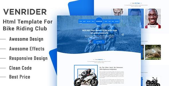 VenRider - Bike Rider Club HTML Template - Nonprofit Site Templates