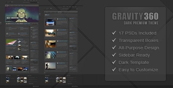 Gravity 360 - Dark Premium PSD Theme - Corporate Photoshop