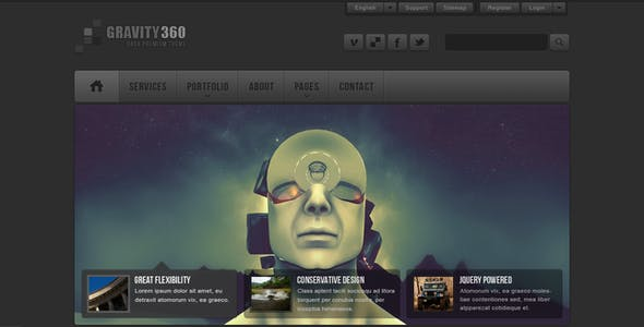 Gravity 360 - Dark Premium PSD Theme