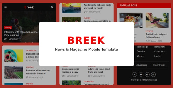 Breek - News & Magazine Mobile Template - Mobile Site Templates
