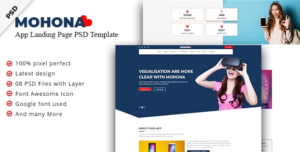Mohona App Landing Page PSD Template - Technology Photoshop