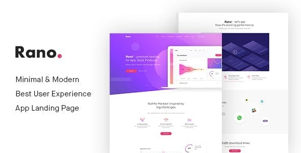 Rano - Landing Page HTML Template - Technology Site Templates