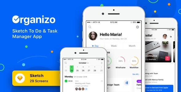 Organizo - Sketch To Do & Task Manager App - Miscellaneous Sketch
