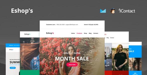 Eshop's Mail - 8 Unique Responsive Email set + Online Access - Email Templates Marketing