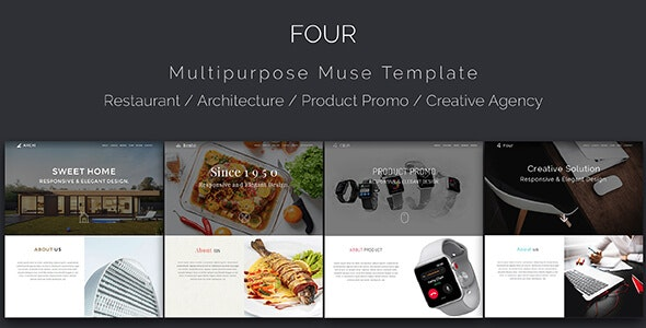 Four_Architecture, Restaurant, Product Landing, Multipurpose Muse Template - Creative Muse Templates
