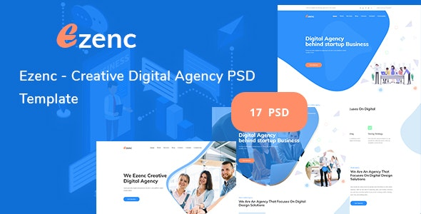 Ezenc  - Creative Digital Agency & Multipurpose PSD Template - Creative Photoshop