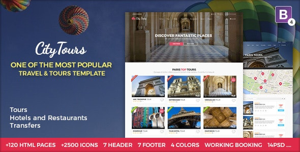 CityTours - Travel and Hotels Site Template - Travel Retail