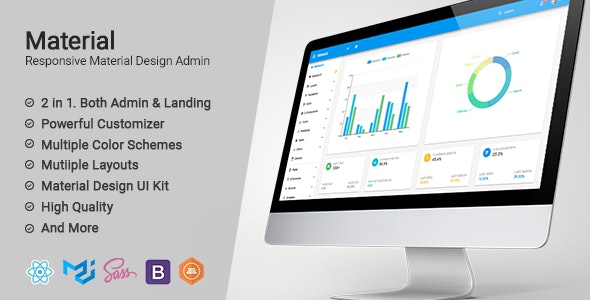 Material Design React Admin with Bootstrap - Admin Templates Site Templates