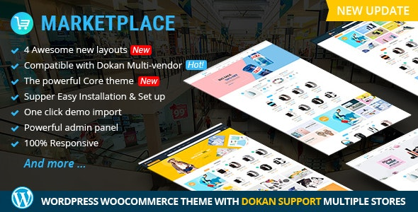 Marketplace WP Theme support Dokan Multi Vendors - Retail WordPress