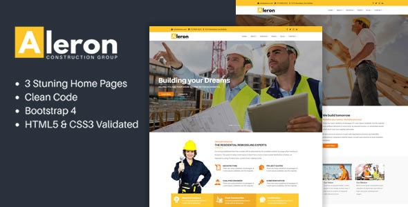 Aleron - Responsive Construction HTML Template - Business Corporate
