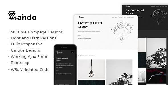 Zando - Creative Minimal Portfolio Landing Page - Portfolio Creative