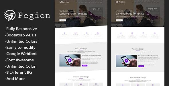 Pegion - Responsive Multi-purpose Landing Page Template - Landing Pages Marketing