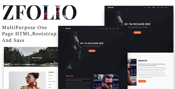 Zfolio | MultiPurpose One Page HTML And Sass Template - Landing Pages Marketing