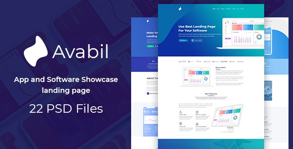 Avabil - App and Software Showcase landing page - Technology Photoshop