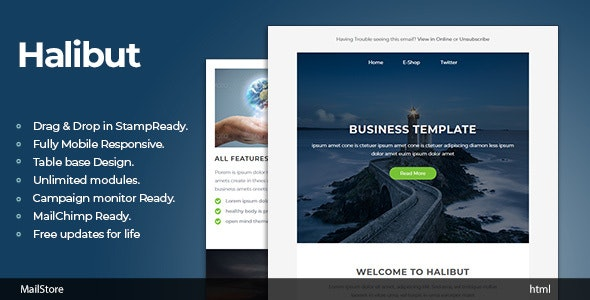 Halibut - Responsive Email Template with Stampready Builder - Newsletters Email Templates