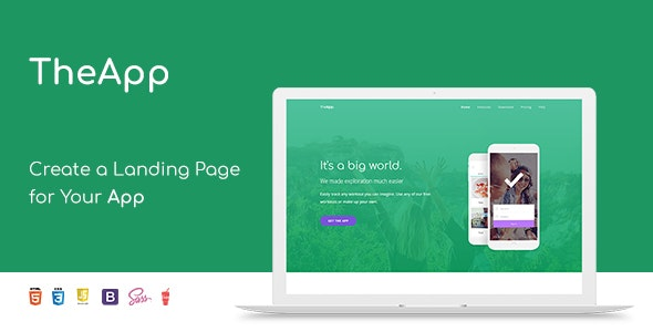 TheApp - Responsive Bootstrap Mobile App Landing Page Template - Software Technology