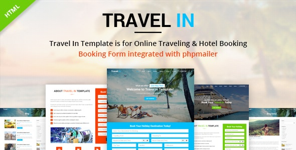 Travel In – Tour, Hotel & Air Tickets Landing HTML Template - Business Corporate