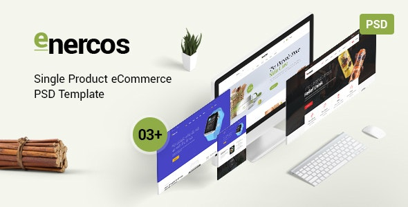 Enercos - Single Product eCommerce PSD Template - Health & Beauty Retail