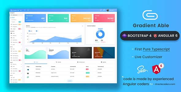 Gradient Able Bootstrap 4 & Angular 6 Admin Dashboard Template by