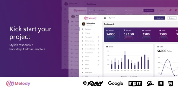 Melody Bootstrap Admin Dashboard Template by urbanui