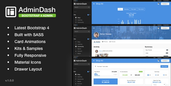 AdminDash - Bootstrap Admin Template - Admin Templates Site Templates