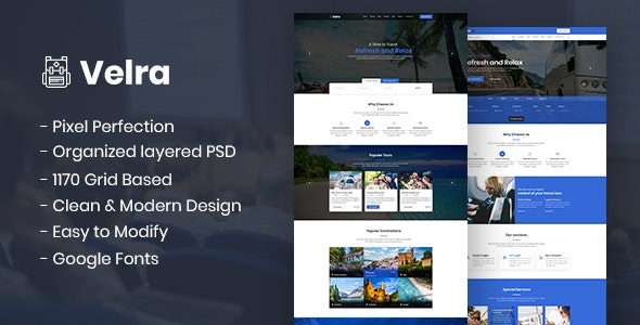 Velra - Travel Transport Business Template - Travel Retail