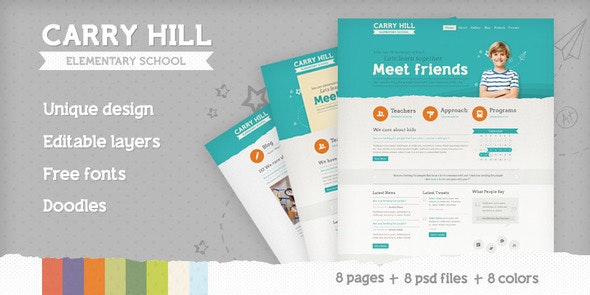 Carry Hill Elementary School - Photoshop UI Templates