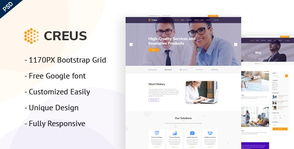 Creus - Consulting PSD Template - Corporate Photoshop