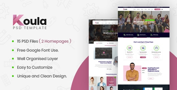 Koula - An Online School and Course PSD Template - Nonprofit PSD Templates