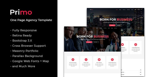 Primo - One Page Agency Template - Corporate Site Templates
