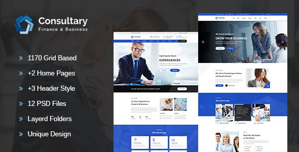 Consultary-Finance, Business & Consulting PSD Template - Business Corporate