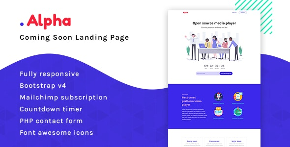 Alpha - Coming Soon Landing Page - Specialty Pages Site Templates