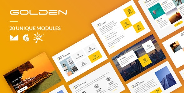 Golden Email-Template + Online Builder - Newsletters Email Templates
