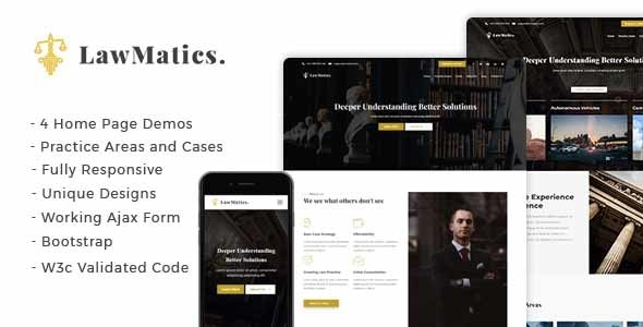 LawMatics - Creative Law Firm and Attorney Landing Page - Business Corporate