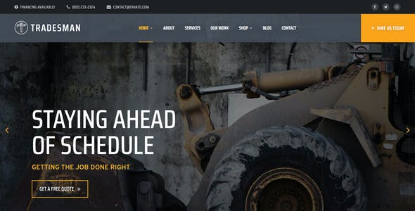 Tradesman Website Templates from ThemeForest