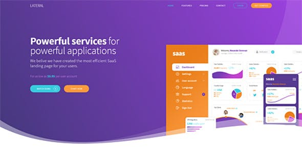 Lateral - Creative SaaS Landing Page Template