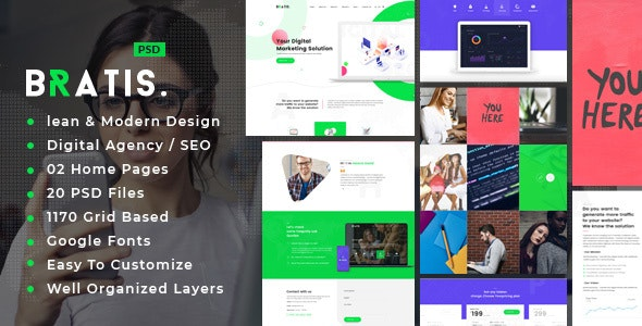 Bratis : Digital Agency PSD Template - Creative Photoshop
