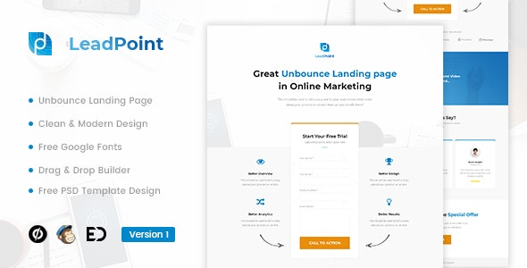 LeadPoint - Lead Generation Unbounce Landing Page Template - Unbounce Landing Pages Marketing