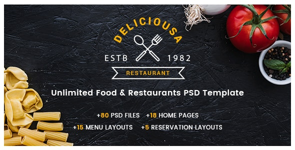 Deliciousa | Unlimited Foods & Restaurants PSD Template - Food Retail