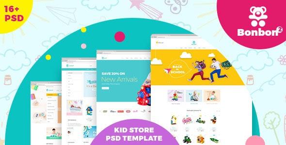 BonBon E-Commerce PSD Template - Children Retail