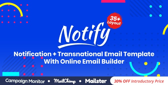 Notify | Responsive Multipurpose Email Template With Online Builder - Newsletters Email Templates