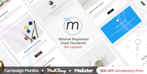Miley | Minimal Responsive Email Template with Online Builder - Newsletters Email Templates