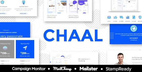 Chaal - Business Email Set - 100+ Modules StampReady Builder + Mailster & Mailchimp Editor - Newsletters Email Templates