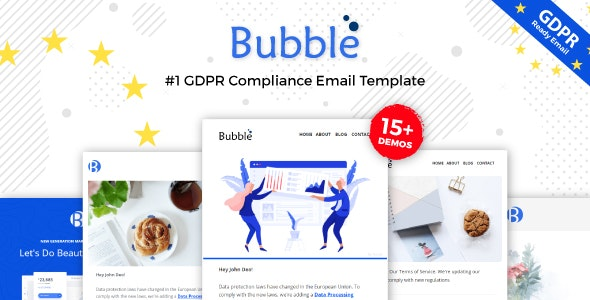Bubble - GDPR Compliance Responsive Email Notification - Online Builder + Mailster + Mailchimp - Newsletters Email Templates