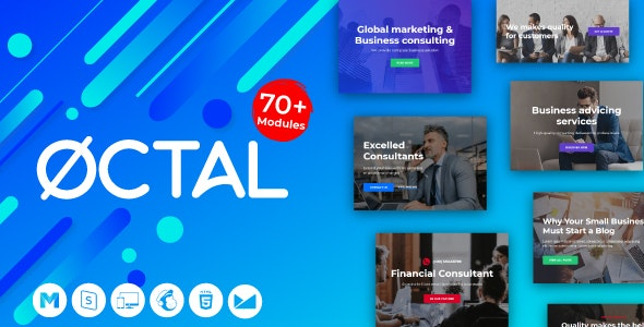 Octal -Agency Email for Consulting, Financial Business - StampReady Builder + Mailster & Mailchimp - Newsletters Email Templates